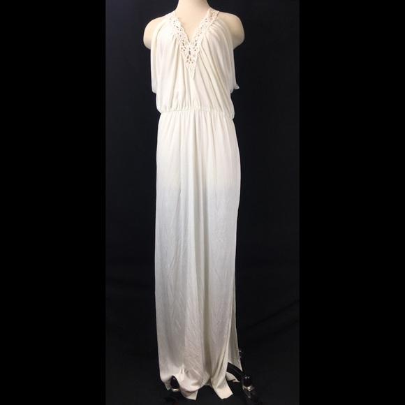 Vintage Dresses & Skirts - Vintage White Floor Length Grecian Goddess Gown